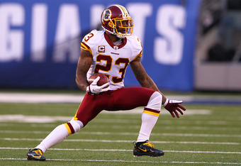 EAST RUTHERFORD, NJ - DECEMBER 18:   DeAngelo Hall #23 of the Washington Redskins in action against the New York Giants during their game at MetLife Stadium on December 18, 2011 in East Rutherford, New Jersey.  (Photo by Al Bello/Getty Images)