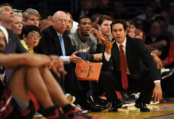 LOS ANGELES, CA - MARCH 04:  Erik Spoelstra of the Miami Heat watches from the bench during a 93-83 Los Angeles Lakers win at Staples Center on March 4, 2012 in Los Angeles, California.  NOTE TO USER: User expressly acknowledges and agrees that, by downlo