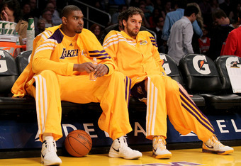 LOS ANGELES, CA - MARCH 02:  Andrew Bynum #17 (L) and Pau Gasol #16 of the Los Angeles Lakers sit on the bench before the game against the Sacramento Kings at Staples Center on March 2, 2012 in Los Angeles, California.  The Lakers won 115-107.  NOTE TO US