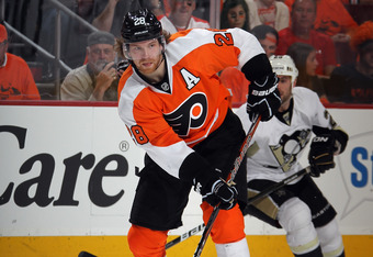 PHILADELPHIA, PA - APRIL 15:  Claude Giroux #28 of the Philadelphia Flyers skates against the Pittsburgh Penguins in Game Three of the Eastern Conference Quarterfinals during the 2012 NHL Stanley Cup Playoffs at Wells Fargo Center on April 15, 2012 in Phi