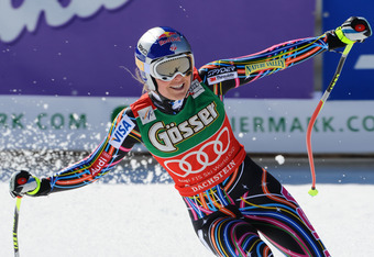 SCHLADMING, AUSTRIA - MARCH 14: (FRANCE OUT) Lindsey Vonn of the USA takes the Overall Downhill World Cup globe during the Audi FIS Alpine Ski World Cup Women's Downhill on March 14, 2012 in Schladming, Austria. (Photo by Alain Grosclaude/Agence Zoom/Gett