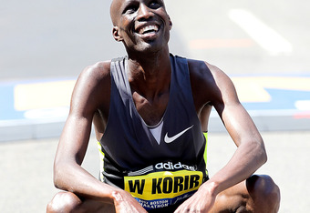 BOSTON, MA - APRIL 16:  Wesley Korir of Kenya reacts after he won the 116th Boston Marathon on  the April 15, 2012  in Boston, Massachusetts. (Photo by Jim Rogash/Getty Images)