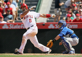 ANAHEIM, CA - APRIL 07:  Albert Pujols #5 of the Los Angeles Angels of Anaheim bats against the Kansas City Royals at Angel Stadium of Anaheim on April 7, 2012 in Anaheim, California.  (Photo by Jeff Gross/Getty Images)