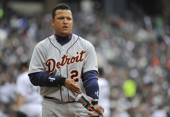 CHICAGO, IL - APRIL 14:   Miguel Cabrera #24 of the Detroit Tigers walks off the field after striking out during the third inning against the Chicago White Sox at U.S. Cellular Field on April 14, 2012 in Chicago, Illinois. The White Sox won 5-1.   (Photo