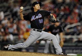 WASHINGTON, DC - SEPTEMBER 2: Ryota Igarashi #18 of the New York Mets works the seventh inning against the Washington Nationals at Nationals Park on September 2, 2011 in Washington, DC. The New York Mets won, 7-3. (Photo by Patrick Smith/Getty Images)