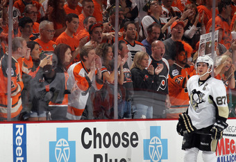 PHILADELPHIA, PA - APRIL 15: Philadelphia Flyers fans yell at Sidney Crosby #87 of the Pittsburgh Penguins in Game Three of the Eastern Conference Quarterfinals during the 2012 NHL Stanley Cup Playoffs at Wells Fargo Center on April 15, 2012 in Philadelph