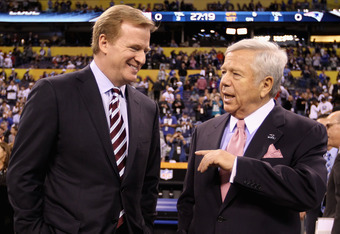 INDIANAPOLIS, IN - FEBRUARY 05:  NFL commissioner Roger Goodell (L) chats with New England Patriots owner Robert Kraft on the field before the New England Patriots take on the New York Giants in Super Bowl XLVI at Lucas Oil Stadium on February 5, 2012 in