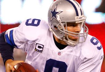 EAST RUTHERFORD, NJ - JANUARY 01:  Tony Romo #9 of the Dallas Cowboys drops back against the New York Giants at MetLife Stadium on January 1, 2012 in East Rutherford, New Jersey.  (Photo by Rich Schultz/Getty Images)