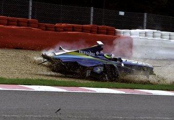 29 Aug 1999: Brazilian Ricardo Zonta crashes his British American Racing car during the Belgian Formula One Grand Prix at the Spa-Francorchamps circuit in Belgium. \ Mandatory Credit: Michael Cooper /Allsport