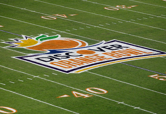 MIAMI GARDENS, FL - JANUARY 04:  A detail of the Discover Orange Bowl logo painted on the field prior to the West Virginia Mountaineers playing against the Clemson Tigers at Sun Life Stadium on January 4, 2012 in Miami Gardens, Florida.  (Photo by J. Meri