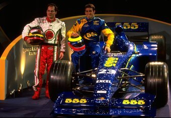 6 Jan 1999:  Jacques Villeneuve of Canada and Ricardo Zonta of Brazil pose with the new British American Racing Car during the Launch at the teams headquarters at Brackley, England. \ Mandatory Credit: Tom Shaw /Allsport