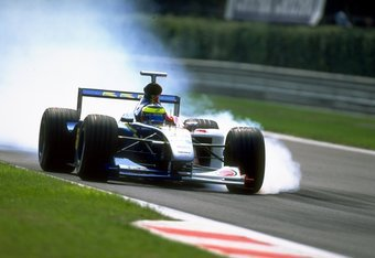12 Sep 1999:  Ricardo Zonta of Brazil and British American Racing locks his wheels during the Italian Formula One Grand Prix at Monza in Italy. \ Mandatory Credit:   /Allsport
