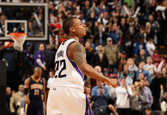 SACRAMENTO, CA - JANUARY 18:  Isaiah Thomas #22 of the Sacramento Kings celebrates after the Kings beat the Indiana Pacers at Power Balance Pavilion on January 18, 2012 in Sacramento, California. NOTE TO USER: User expressly acknowledges and agrees that,