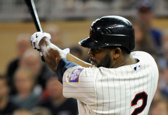 MINNEAPOLIS, MN - SEPTEMBER 28: Denard Span #2 of the Minnesota Twins doubles against the Kansas City Royals in the ninth inning on September 28, 2011 at Target Field in Minneapolis, Minnesota. The Twins defeated the Royals 1-0. (Photo by Hannah Foslien/G