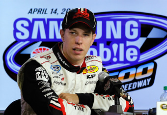 FORT WORTH, TX - APRIL 13:  Brad Keselowski, driver of the #2 Miller Lite Dodge, answers questions from the media befoe practice for the NASCAR Sprint Cup Series Samsung Mobile 500 at Texas Motor Speedway on April 13, 2012 in Fort Worth, Texas.  (Photo by