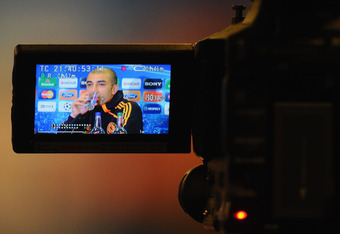 LONDON, ENGLAND - APRIL 17:  Chelsea manager Roberto Di Matteo faces the media during a press conference ahead of their UEFA Champions League semi-final first leg match against Barcelona at Stamford Bridge on April 17, 2012 in London, England.  (Photo by