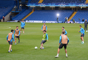 LONDON, ENGLAND - APRIL 17:  Lionel Messi of Barcelona (C) practices with his team-mates during a training session ahead of their UEFA Champions League semi-final first leg match against Chelsea at Stamford Bridge on April 17, 2012 in London, England.  (P