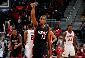 ATLANTA, GA - JANUARY 05:  Mario Chalmers #15 of the Miami Heat reacts after hitting a three-point basket in the third overtime against the Atlanta Hawks at Philips Arena on January 5, 2012 in Atlanta, Georgia.  NOTE TO USER: User expressly acknowledges a