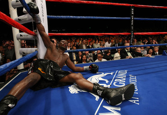 MASHANTUCKET, CT - APRIL 25:  Jermain Taylor lays on the canvas after being knocked down in the 12th round by Carl Froch during their WBC Super Middleweight Championship bout at the MGM Grand at Foxwoods on April 25, 2009 in Mashantucket, Connecticut.  (P