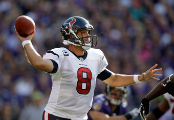 BALTIMORE, MD - OCTOBER 16:  Quarterback  Matt Schaub #8 of the Houston Texans drops back to pass against the Baltimore Ravens at M&T Bank Stadium on October 16, 2011 in Baltimore, Maryland. The Ravens won 29-14.  (Photo by Rob Carr/Getty Images)