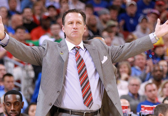 ST. LOUIS, MO - MARCH 23:  Head coach Mark Gottfried of the North Carolina State Wolfpack reacts as he coaches against the Kansas Jayhawks during the 2012 NCAA Men's Basketball Midwest Regional Semifinal at Edward Jones Dome on March 23, 2012 in St. Louis