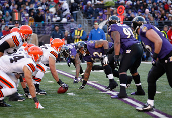 BALTIMORE, MD - DECEMBER 24: The Cleveland Browns offense lines up against Terrence Cody #62 and the Baltimore Ravens defense at M&T Bank Stadium on December 24, 2011 in Baltimore, Maryland.  (Photo by Rob Carr/Getty Images)