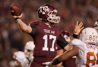 COLLEGE STATION, TX - NOVEMBER 24:  Ryan Tannehill #17 of the Texas A&M Aggies throws a pass against the Texas Longhorns in the second half of a game at Kyle Field on November 24, 2011 in College Station, Texas. (Photo by Darren Carroll/Getty Images)