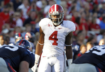 OXFORD, MS - OCTOBER 15:  Defensive back Mark Barron #4 of the Alabama Crimson Tide lines up against Mississippi on October 15, 2011 at Vaught- Hemingway Stadium in Oxford, Mississippi. (Photo by Butch Dill/Getty Images)