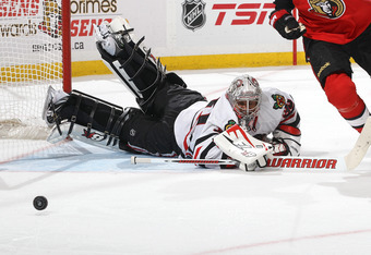 OTTAWA, CANADA - MARCH 2: Ray Emery #30 of the Chicago Blackhawks makes a save during an NHL game against the Ottawa Senators at Scotiabank Place on March 2, 2012 in Ottawa, Ontario, Canada.  (Photo by Jana Chytilova/Freestyle Photography/Getty Images)