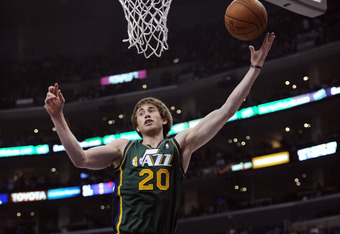 LOS ANGELES, CA - MARCH 31:  Gordon Hayward #20 of the Utah Jazz grabs a rebound during the game against Los Angeles Clippers at Staples Center on March 31, 2012 in Los Angeles, California.  NOTE TO USER: User expressly acknowledges and agrees that, by do