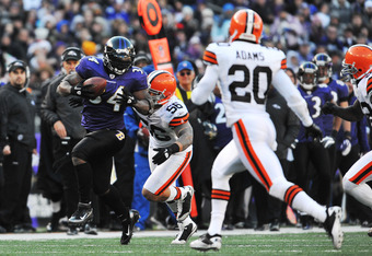 BALTIMORE - DECEMBER 24:  Ricky Williams #34 of the Baltimore Ravens runs the ball against the Cleveland Browns at M&T Bank Stadium on December 24, 2011 in Baltimore, Maryland. The Ravens defeated the Browns 20-14. (Photo by Larry French/Getty Images)