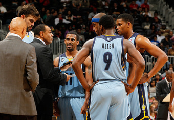 ATLANTA, GA - FEBRUARY 02:  Lionel Hollins of the Memphis Grizzlies converses with his players during a timeout against the Atlanta Hawks at Philips Arena on February 2, 2012 in Atlanta, Georgia.  NOTE TO USER: User expressly acknowledges and agrees that,