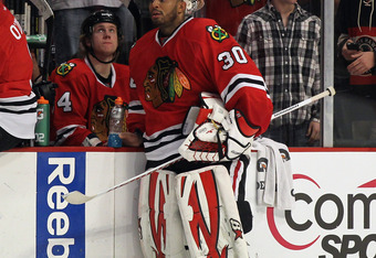 CHICAGO, IL - APRIL 01: Ray Emery #30 of the Chicago Blackhawks waits to begin a shootout against the Minnesota Wild at the United Center on April 1, 2012 in Chicago, Illinois. The Wild defeated the Blackhawks 5-4 in a shootout. (Photo by Jonathan Daniel/
