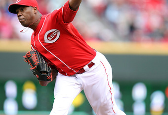 CINCINNATI, OH - APRIL 11:  Aroldis Chapman #54 of the Cincinnati Reds throws a pitch during the game against the  St Louis Cardinals at Great American Ball Park on April 11, 2012 in Cincinnati, Ohio.  (Photo by Andy Lyons/Getty Images)