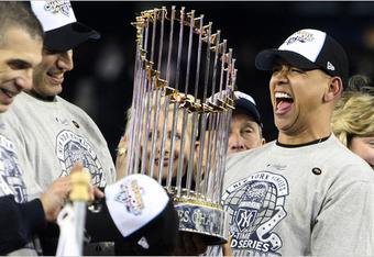 Alex Rodriguez with his first and the Yankees 27th World Championship in 2009.