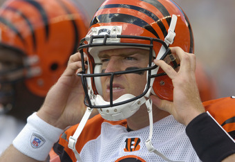 PITTSBURGH, PA - SEPTEMBER 24:  Carson Palmer #9 of the Cincinnati Bengals looks on during the NFL game against the Pittsburgh Steelers on September 24, 2006 at Heinz Field in Pittsburgh, Pennsylvania. The Bengals won the game 28-20.  (Photo by Greg Fiume