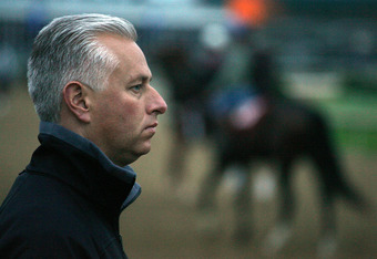 LOUISVILLE, KY - MAY 01:  Todd Pletcher the trainer of Monba and Behindatthebar looks on during the morning training for the Kentucky Derby at Churchill Downs May 1, 2008 in Louisville, Kentucky.  (Photo by Andy Lyons/Getty Images)