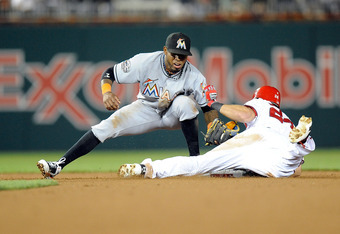 WASHINGTON, DC - APRIL 20:  Rick Ankiel #24 of the Washington Nationals slides into second base in the eighth inning ahead of the tag of Jose Reyes #7 of the Miami Marlins at Nationals Park on April 20, 2012 in Washington, DC.  (Photo by Greg Fiume/Getty
