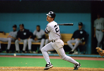 SEATTLE - OCTOBER 8:  Don Mattingly #23 of the New York Yankees hits a pitch during Game five of the 1995 American League Divisional Series against the Seattle Mariners at the Kingdome on October 8, 1995 in Seattle, Washington. The Mariners defeated the Y