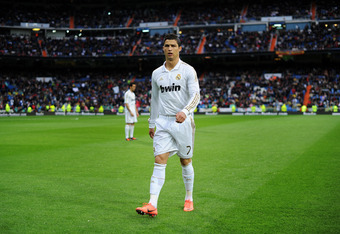 MADRID, SPAIN - APRIL 14:  Cristiano Ronaldo of Real Madrid prior to the start of the La Liga match between Real Madrid CF and Real Sporting de Gijon at the Estadio Santiago Bernabeu on April 14, 2012 in Madrid, Spain.  (Photo by Jasper Juinen/Getty Image