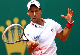 MONTE-CARLO, MONACO - APRIL 18:  Novak Djokovic of Serbia plays a forehand in his match against Andreas Seppi of Italy during day four of the ATP Monte Carlo Masters on April 18, 2012 in Monte-Carlo, Monaco.  (Photo by Julian Finney/Getty Images)