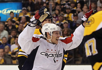 BOSTON, MA - APRIL 21: Jay Beagle #83 of the Washington Capitals celebrates his goal at 14:27 of the second period against the Boston Bruins in Game Five of the Eastern Conference Quarterfinals during the 2012 NHL Stanley Cup Playoffs at TD Garden on Apri