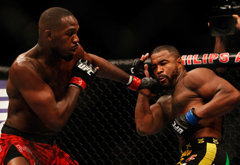 Jones worked behind a stiff left jab for most of his time in the Octagon Saturday.