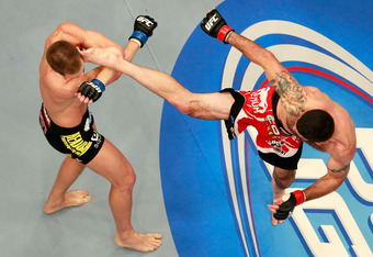 Matt Brown (right) proved himself to be a real beast Saturday, earning a hard-fought decision against Stephen Thompson.
