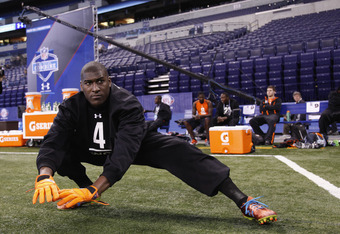 INDIANAPOLIS, IN - FEBRUARY 26: Wide receiver Justin Blackmon of Oklahoma State gets ready during the 2012 NFL Combine at Lucas Oil Stadium on February 26, 2012 in Indianapolis, Indiana. (Photo by Joe Robbins/Getty Images)