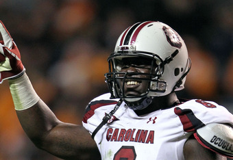 KNOXVILLE, TN - OCTOBER 29: Melvin Ingram #6 of the South Carolina Gamecocks celebrates during the game against the Tennessee Volunteers at Neyland Stadium on October 29, 2011 in Knoxville, Tennessee.  (Photo by Andy Lyons/Getty Images)