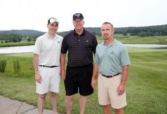 Kevin Demoff, Bob O' Loughlin and former Rams Head Coach Steve Spagnuolo