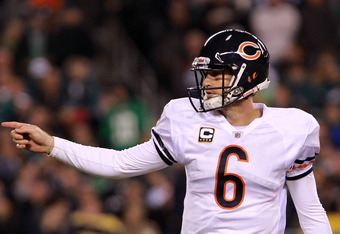 PHILADELPHIA, PA - NOVEMBER 07:  Quarterback  Jay Cutler #6 of the Chicago Bears celebrates after throwing a touchdown pass to  Earl Bennett #80 (not picttured) during the fourth quarter of the game at Lincoln Financial Field on November 7, 2011 in Philad