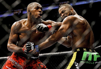 After overcoming some initial strikes from Rashad Evans, Jon Jones systematically dismantled his opponent, specifically with some hard elbows to the head.  Image courtesy of Paul Abell/US PRESSWIRE.