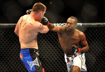 Jones earned his first finish in the UFC with his submission victory over Jake O'Brien at UFC 100.